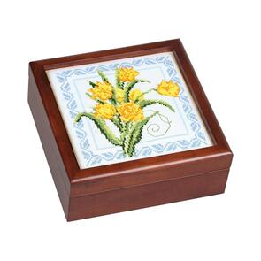 "Sudberry House  Mahogany Finish Simple Square Box 7""X7""X2-3/4"""