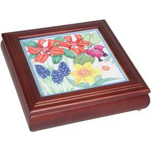 """Sudberry House  Mahogany Carol's Fancywork Box 9.5""""X9.5""""X2.75"""