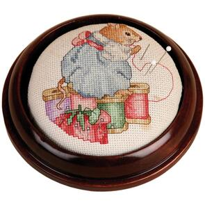 """Sudberry House  Mahogany Round Pincushion 4.75"""""""