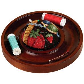 """Sudberry House  Mahogany Round Pincushion Tray 7"""""""