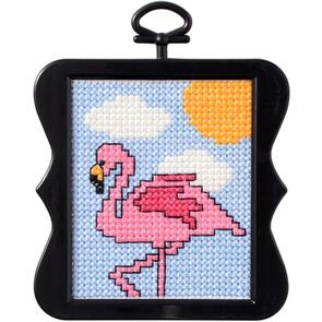"Bucilla Beginner Minis Counted Cross Stitch Kit 3""X3"" - Flamingo (14 Count)"
