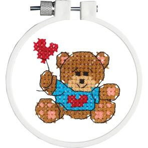 "Janlynn  Kid Stitch Stamped Cross Stitch Kit 3"" Round - Bear & Balloon"
