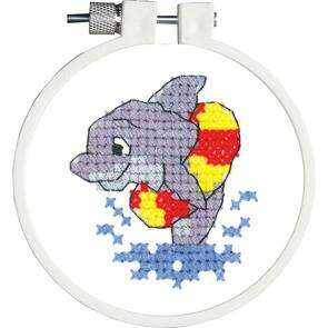 "Janlynn Kid Stitch Stamped Cross Stitch Kit 3"" Round - Dolphin Splash"