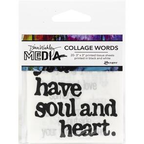 "Ranger Ink Dina Wakley Media Collage Word Pack 3""X3"" 20/Pkg #2"