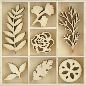 Kaisercraft  Wood Embellishments - Nature, 35/pkg