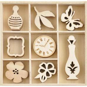 Kaisercraft Wood Embellishments - Antiquities, 40/Pkg