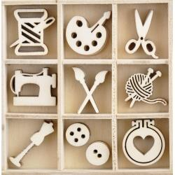 Kaisercraft Wood Embellishments - Crafternoon, 55/Pkg