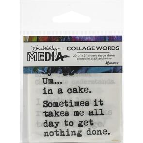 "Ranger Ink Dina Wakley Media Collage Word Pack 3""X3"" 20/Pkg #3"