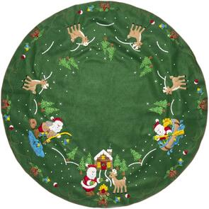 "Bucilla  Felt Tree Skirt Applique Kit 43"" Round - Lodge Santa"