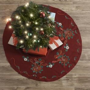 "Bucilla  Tree Skirt Applique Kit 43"" Round - Glitzy Poinsettia"