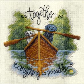 """Dimensions  Cross Stitch Kit 6""""X6"""" - Together Dogs"""
