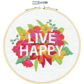 Dimensions  Embroidery Kit - Live Happy