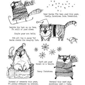Stampers Anonymous  Tim Holtz Cling Stamps - Snarky Cats Christmas