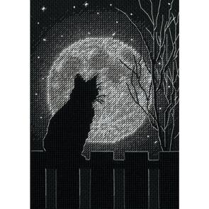 """Dimensions  Cross Stitch Kit 5""""X7"""" - Black Moon Cat"""
