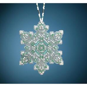 """Mill Hill Counted Cross Stitch Ornament Kit 2.75""""X3.25"""" Aqua Mist Snowflake"""