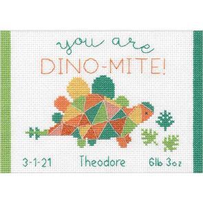 "Dimensions  Cross Stitch Kit 7""X5"" - Dino Mite Birth Record"