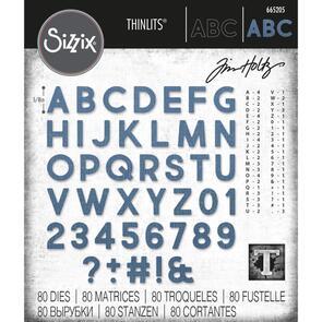 Sizzix Tim Holtz Thinlits Die Set 80PK - Alphanumeric Bold by