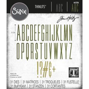 Sizzix Tim Holtz Thinlits Die Set 31PK - Alphanumeric Stretch Upper by