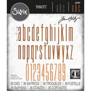 Sizzix Tim Holtz Thinlits Die Set 36PK - Alphanumeric Stretch Lower & Numbers