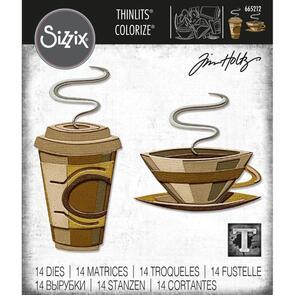 Sizzix Tim Holtz Thinlits Die Set 14PK - Cafe, Colorize by