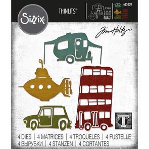 Sizzix Tim Holtz Thinlits Die Set 4PK - Wacky Transport #1 by