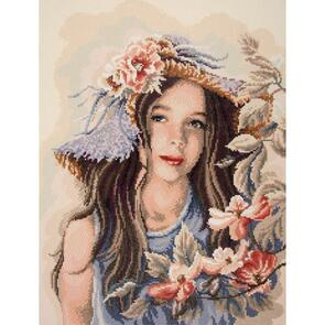 "Vervaco Diamond Art Kit 20""X26"" - Little Girl With Hat"