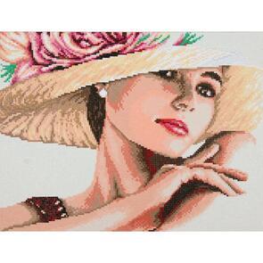 "Vervaco Diamond Art Kit 19.6""X14.8"" - Lady with Hat"