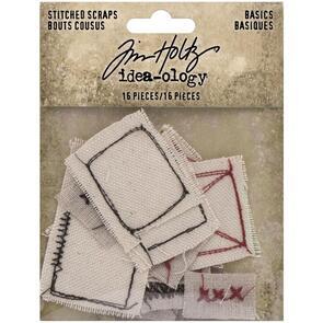 Idea-Ology  Tim Holtz Stitched Scraps 16/Pkg Basics