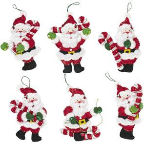Bucilla Felt Ornaments Applique Kit Set Of 6 - Candy Cane Santa