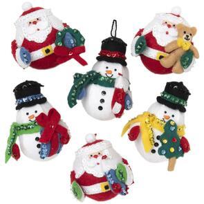 Bucilla Felt Ornaments Applique Kit Set Of 6 - Roly Poly Christmas