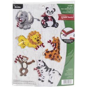 Bucilla Felt Ornaments Applique Kit Set Of 6 - Jungle Santa