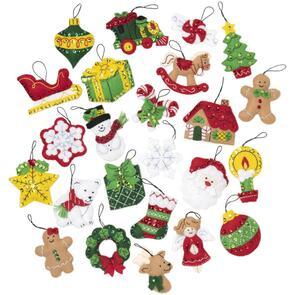 Bucilla  Felt Ornaments Applique Kit Set Of 25 - Christmas Minis