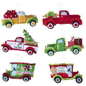 Bucilla  Felt Ornaments Applique Kit Set Of 6 - Vintage Trucks