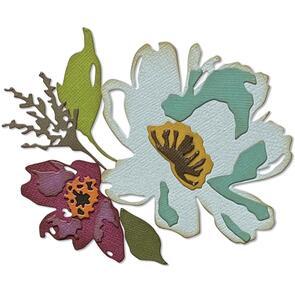Sizzix  Tim Holtz - Thinlits 5/Pkg - Brushstroke Flowers #3