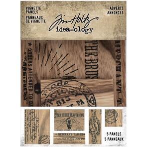 Idea-Ology  Tim Holtz - Wooden Vignette Panels 5/Pkg - Adverts