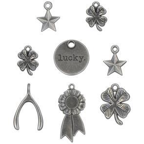 Idea-Ology  Tim Holtz Metal Adornments 8/Pkg - Lucky