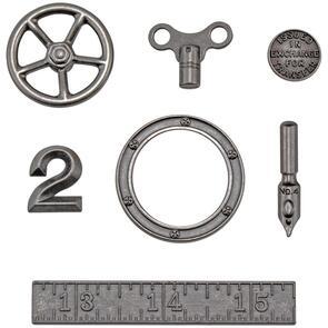 Idea-Ology Tim Holtz Metal Odds & Ends 7/Pkg - Antique Nickel