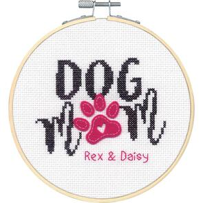 "Design Works Counted Cross Stitch Kit 6"" Round - Dog Mom"