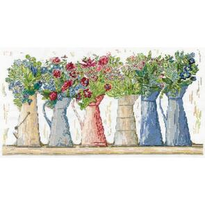 """Design Works Counted Cross Stitch Kit 10""""X18"""" - Pitcher Row"""