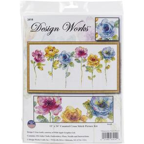 Design Works Cross Stitch Picture Kit - Watercolor Floral Row
