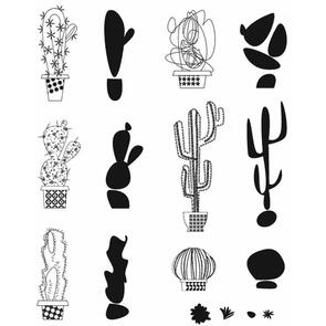 """Stampers Anonymous  Tim Holtz Cling Stamps 7""""X8.5"""" - Mod Cactus"""