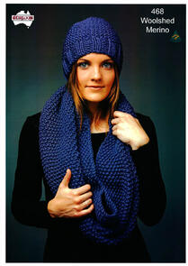 Heirloom  468 Knitting Pattern Cowl and Beanie