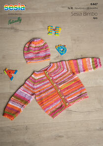 Sesia Knitting Pattern K447 - Raglan Cardigan and Hat