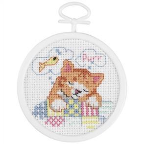 Janlynn Beginners / Mini Cross Stitch Kit: Dreaming Kitty