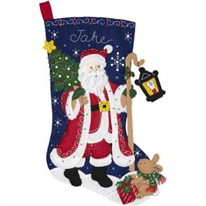 "Bucilla  Felt Stocking Applique Kit 18"" Long - Santa with Lantern"
