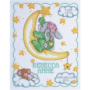 Janlynn Cross Stitch Kit: Crescent Moon - Birth Record / Announcement