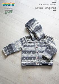 Naturally K423 Raglan Cardigan with Hood Knitting Pattern