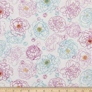 Northcott - Fabric - Primavera by Pippa Shaw - Peony Outline - 90318-11