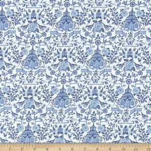 Susan Winget  - Fabric - Chinoiserie, White - 105