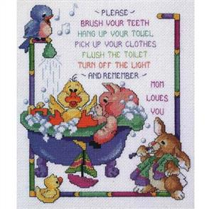 Janlynn Cross Stitch Kit: Bathtime Rules